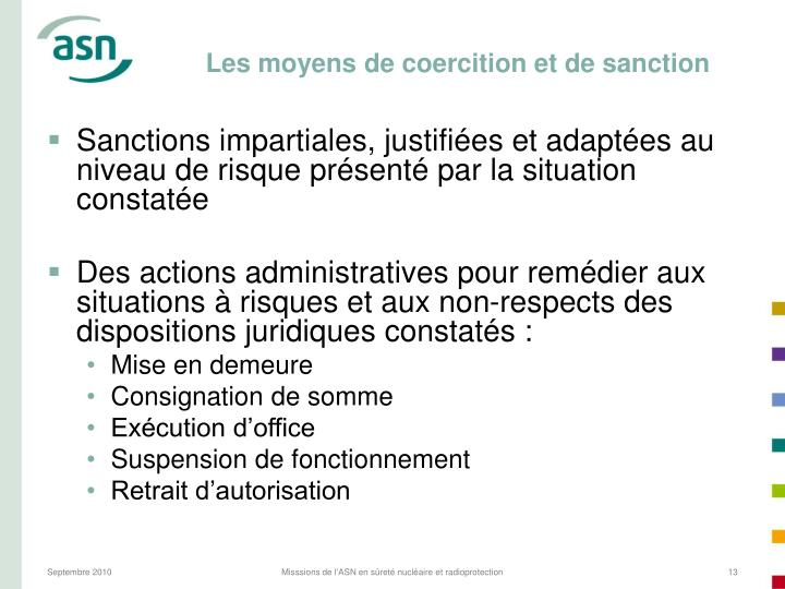 Les moyens de coercition et de sanction