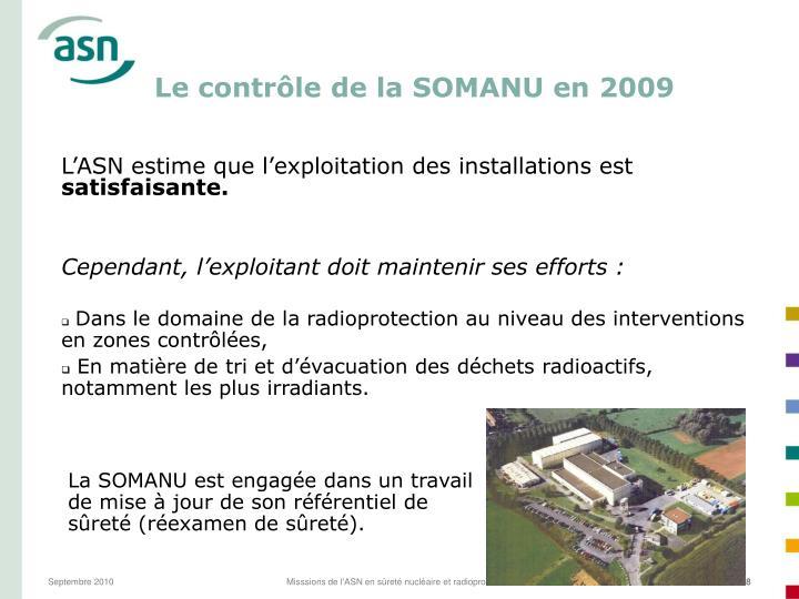 Le contrôle de la SOMANU en 2009