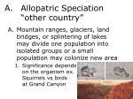allopatric speciation other country
