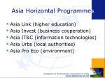 asia horizontal programme s