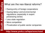 what are the neo liberal reforms