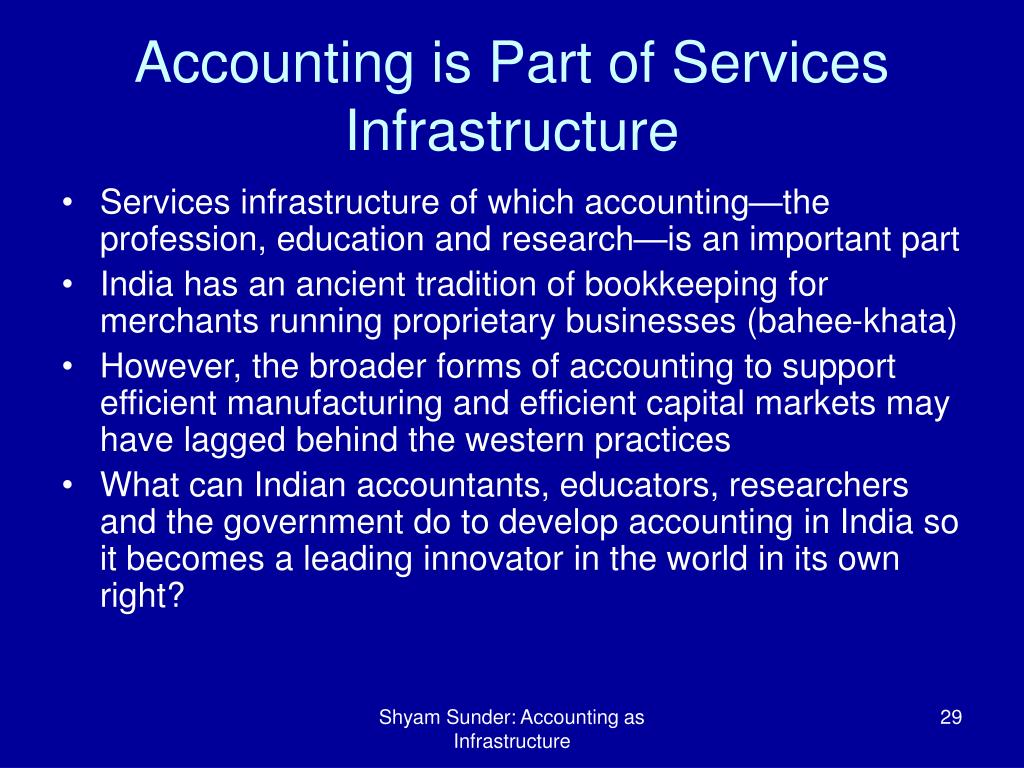 Accounting is Part of Services Infrastructure
