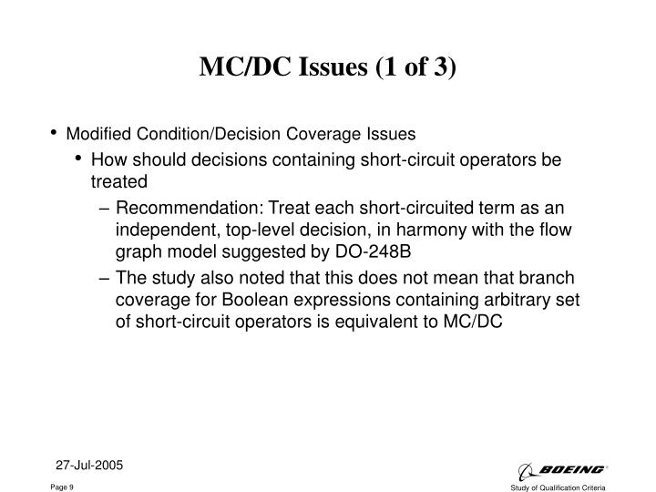 MC/DC Issues (1 of 3)