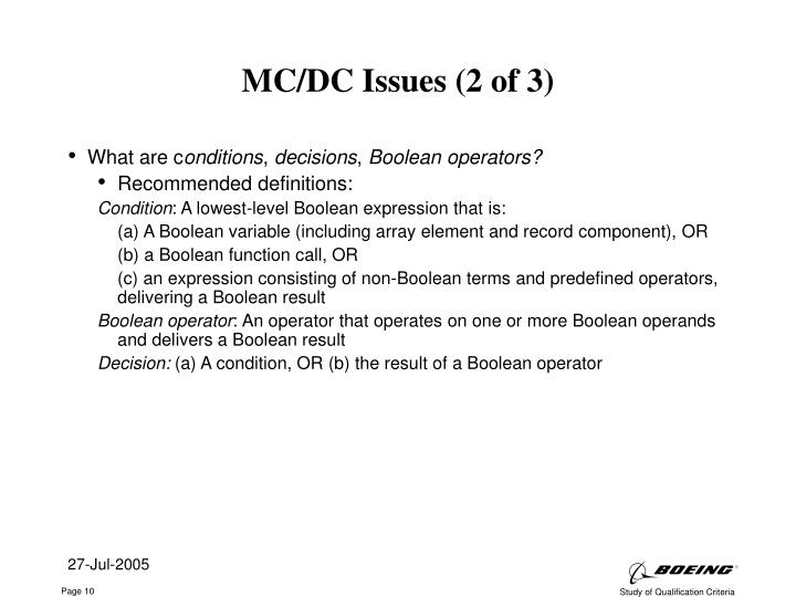 MC/DC Issues (2 of 3)
