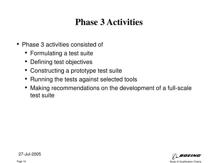 Phase 3 Activities