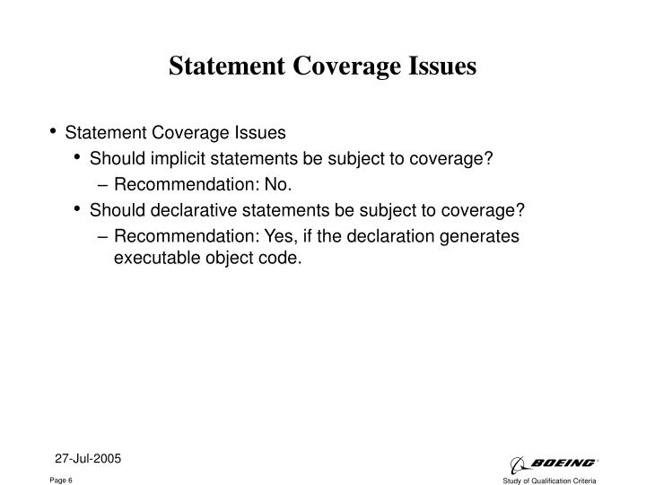 Statement Coverage Issues