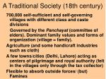a traditional society 18th century