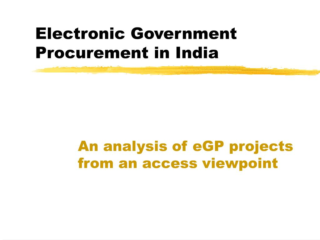 Electronic Government Procurement in India