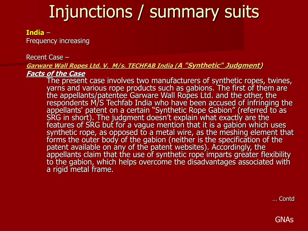 Injunctions / summary suits