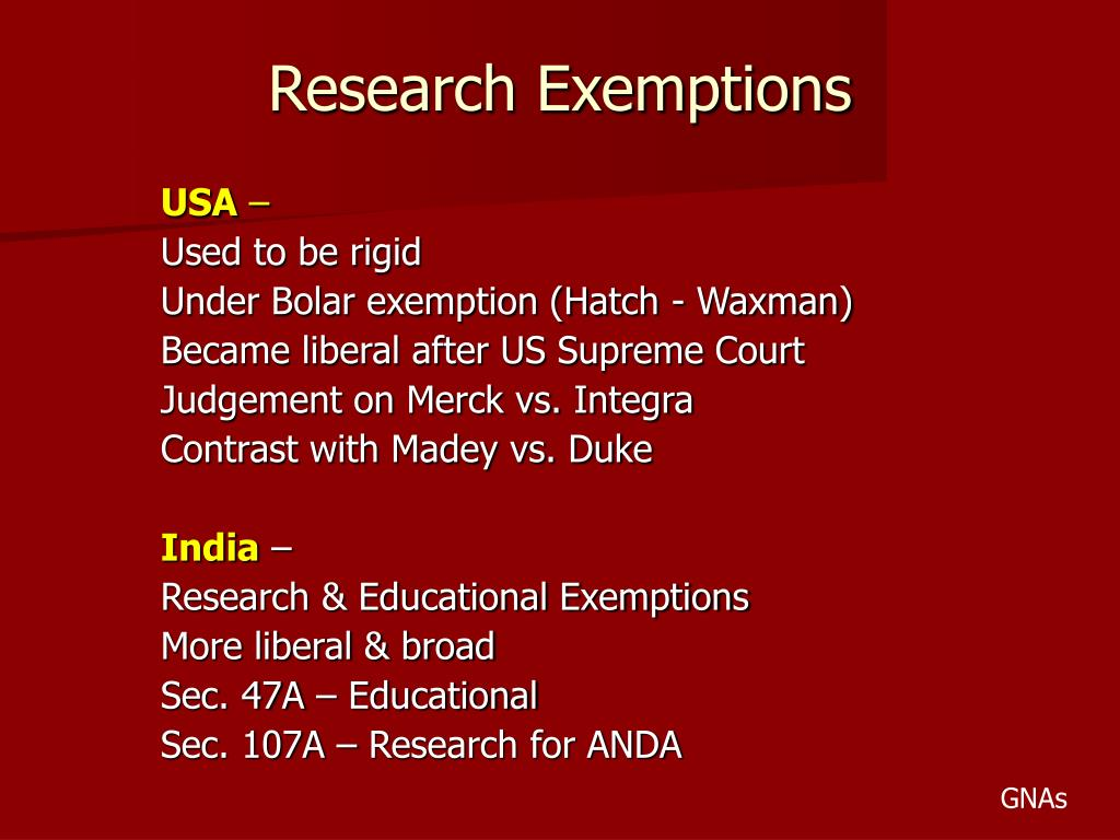 Research Exemptions