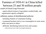 famines of 1958 61 in china killed between 23 and 30 million people