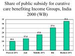 share of public subsidy for curative care benefiting income groups india 2000 wb