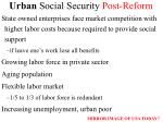 urban social security post reform