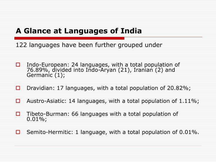 A glance at languages of india3