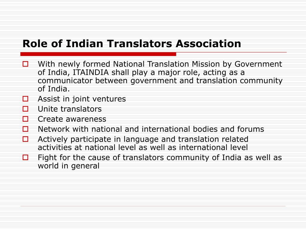 Role of Indian Translators Association