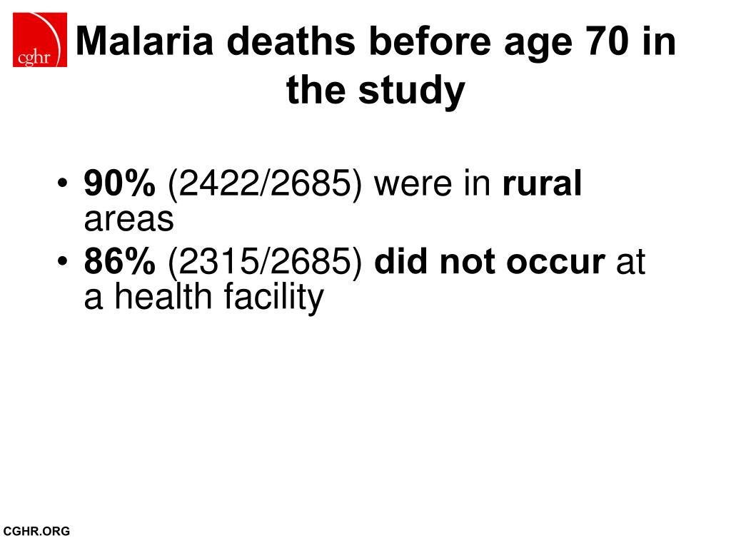 Malaria deaths before age 70 in the study