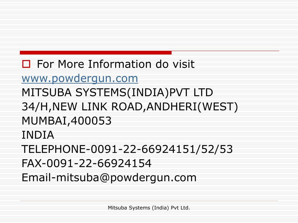 For More Information do visit