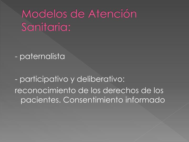 Modelos de atenci n sanitaria