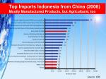 top imports indonesia from china 2008 mostly manufactured products but agricultural too