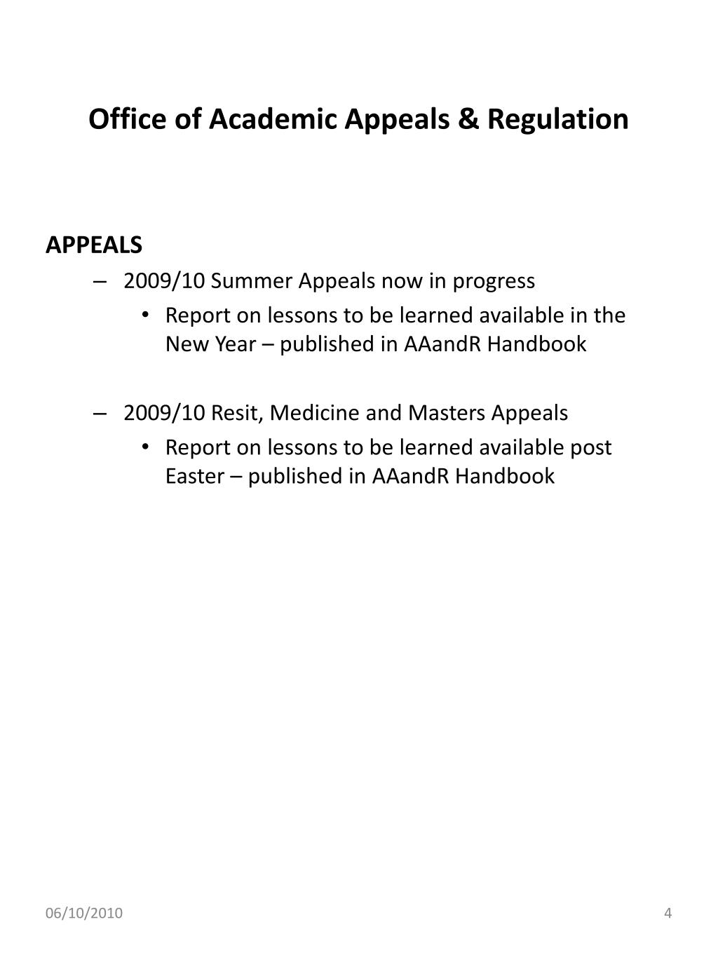 Office of Academic Appeals & Regulation