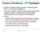 student handbook it highlights