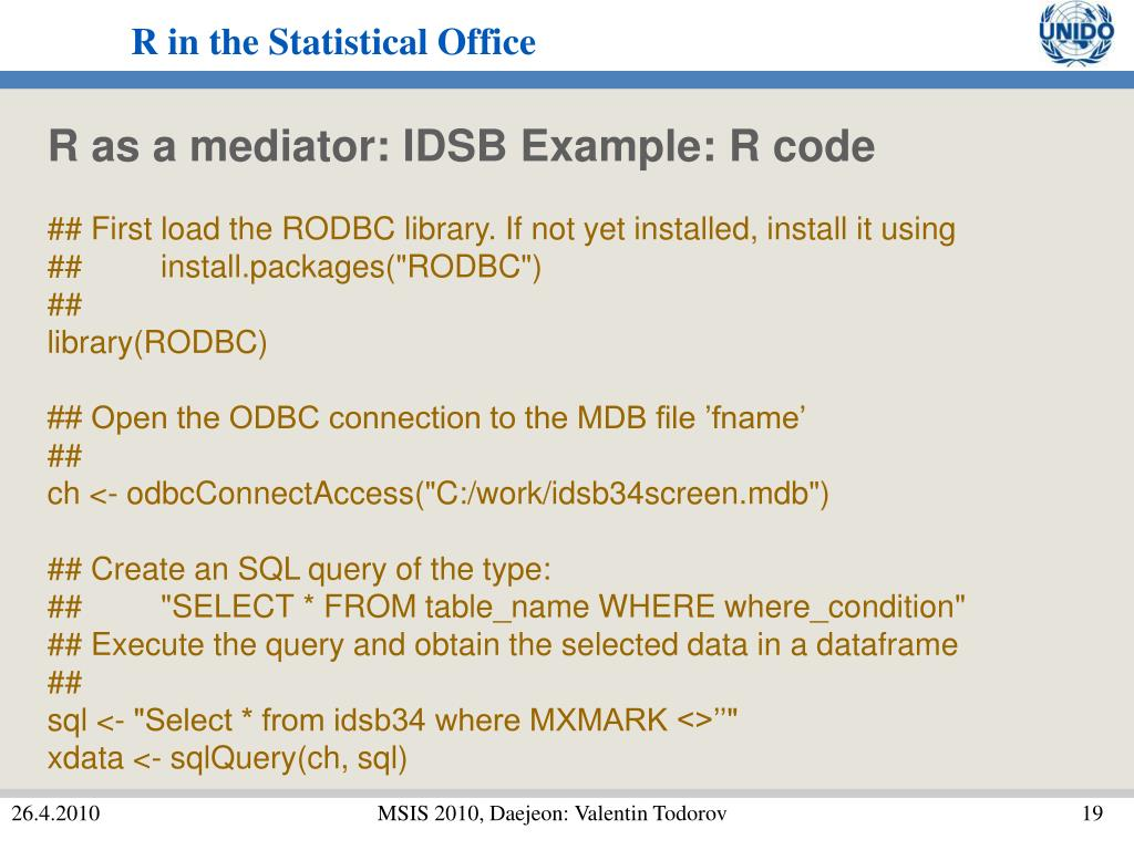 R as a mediator: IDSB Example: R code