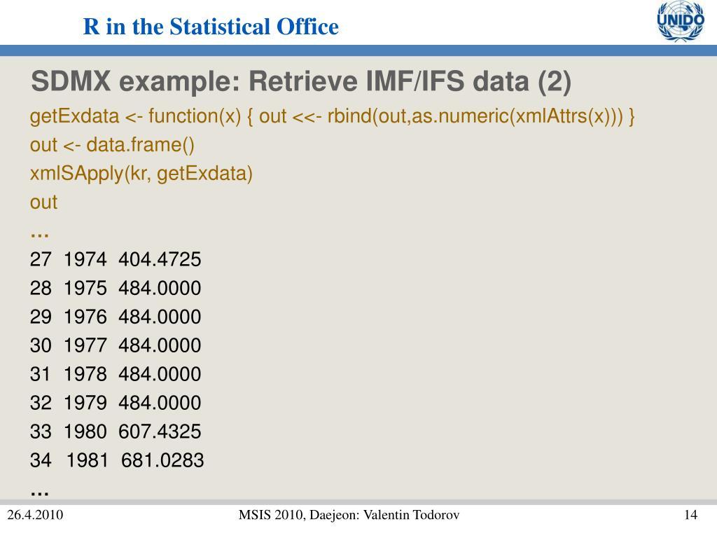 SDMX example: Retrieve IMF/IFS data (2)