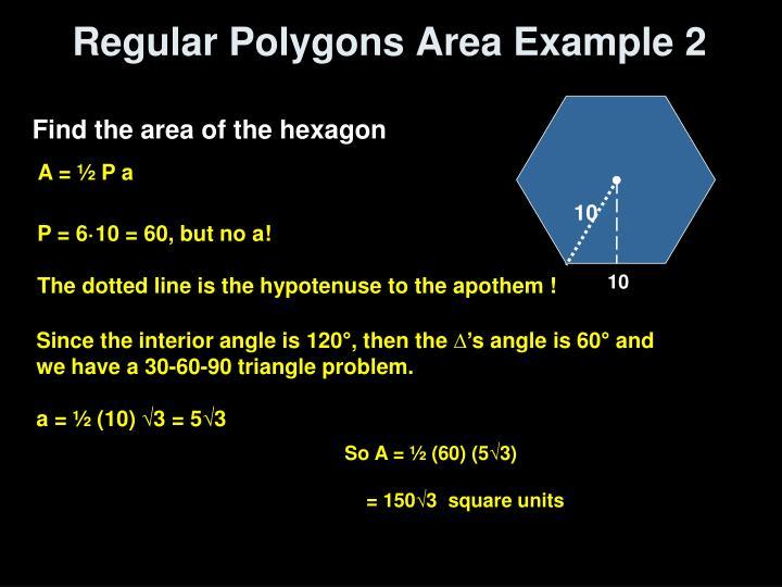 Regular Polygons Area Example 2