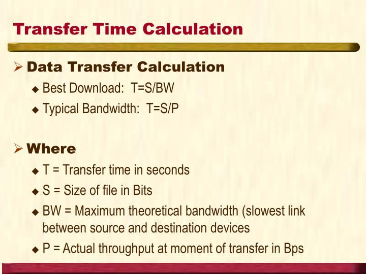 Transfer Time Calculation