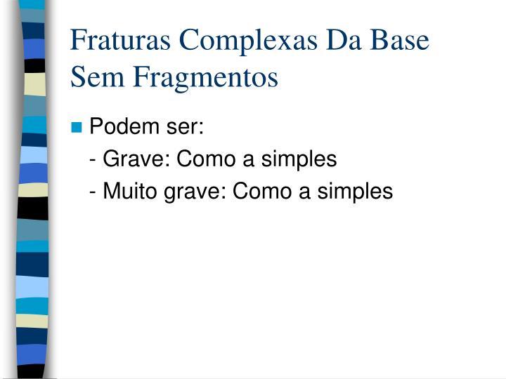 Fraturas Complexas Da Base Sem Fragmentos