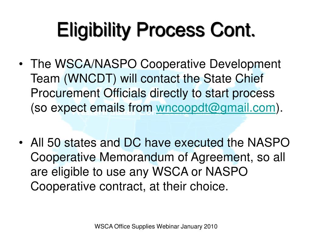 Eligibility Process Cont.