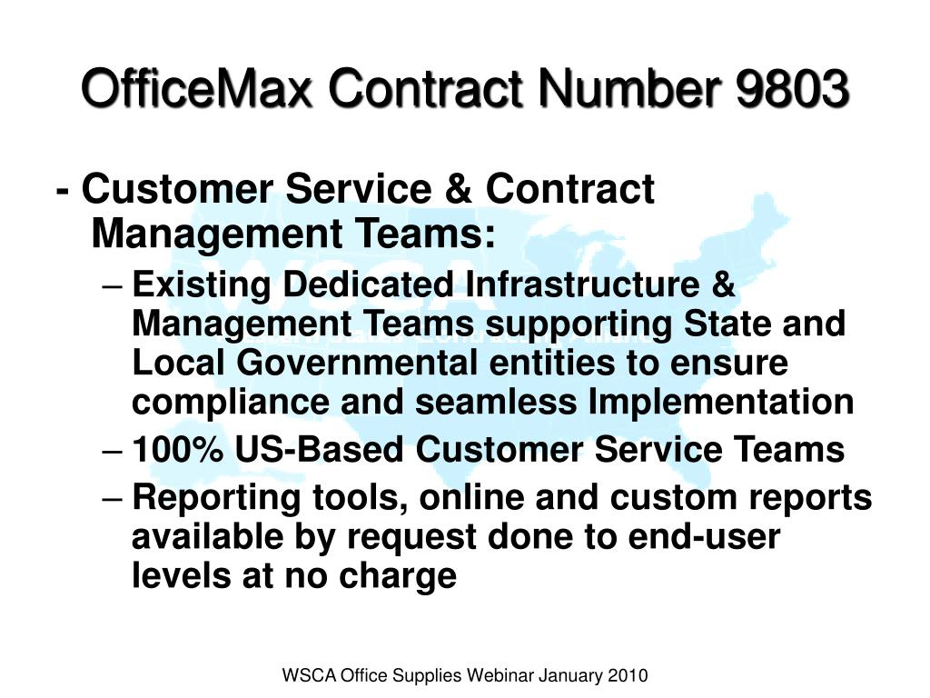 OfficeMax Contract Number 9803