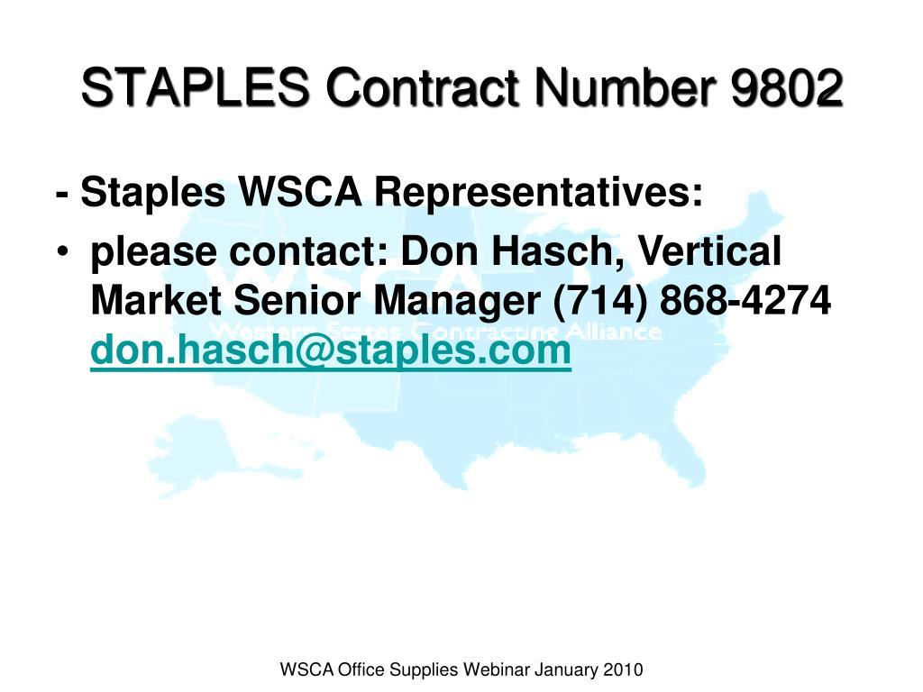STAPLES Contract Number 9802