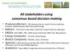 all stakeholders using consensus based decision making