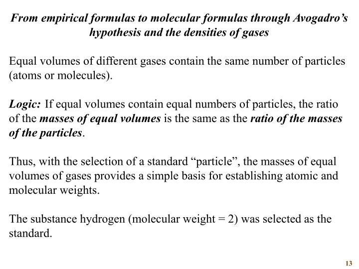 From empirical formulas to molecular formulas through Avogadro's hypothesis and the densities of gases