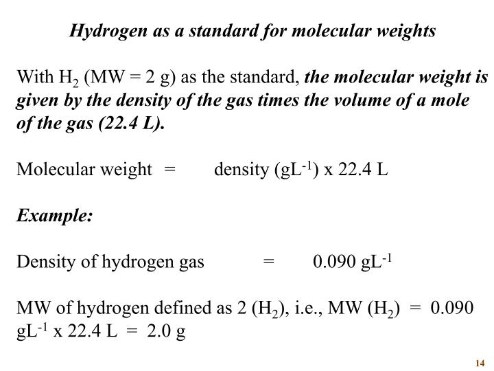 Hydrogen as a standard for molecular weights