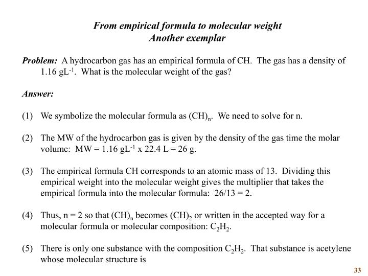 From empirical formula to molecular weight