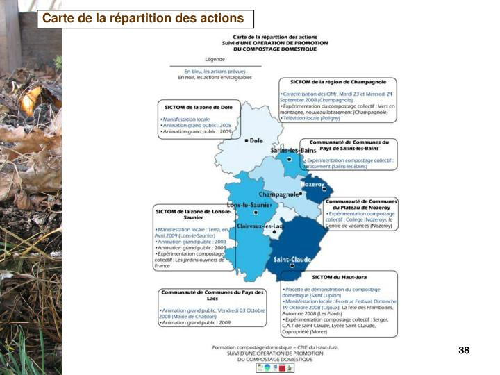 Carte de la répartition des actions