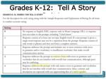 grades k 12 tell a story rubric