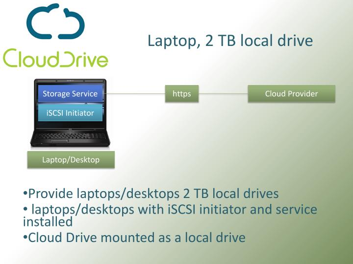 Laptop, 2 TB local drive