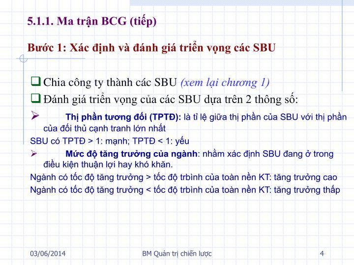 5.1.1. Ma trận BCG (tiếp)