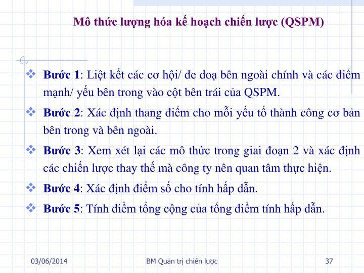 Mô thức lượng hóa kế hoạch chiến lược (QSPM)