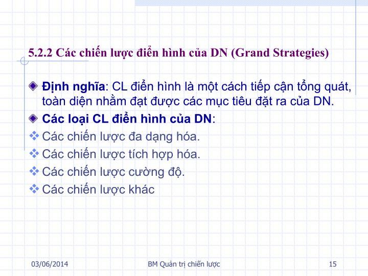 5.2.2 Các chiến lược điển hình của DN (Grand Strategies)