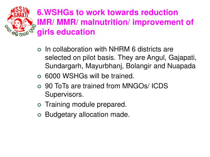 6.WSHGs to work towards reduction IMR/ MMR/ malnutrition/ improvement of girls education