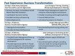 past experience business transformation