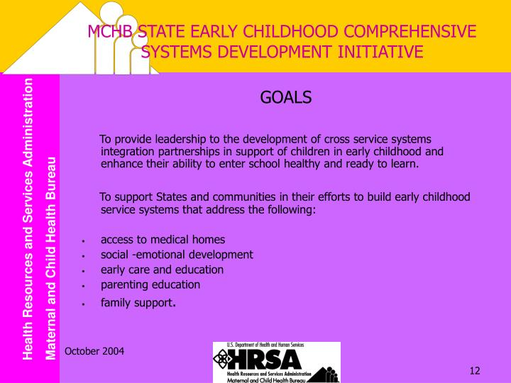 MCHB STATE EARLY CHILDHOOD COMPREHENSIVE SYSTEMS DEVELOPMENT INITIATIVE