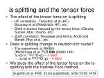 ls splitting and the tensor force