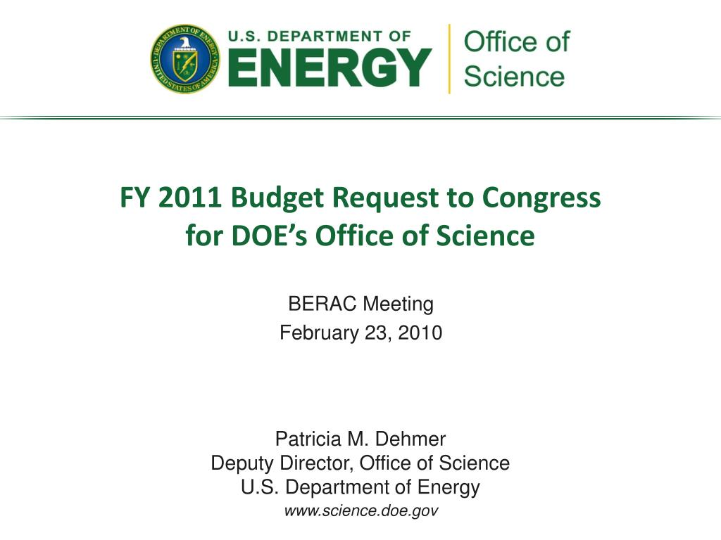 fy 2011 budget request to congress for doe s office of science l.