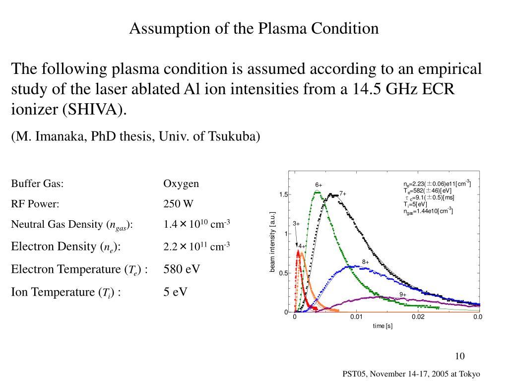 Assumption of the Plasma Condition