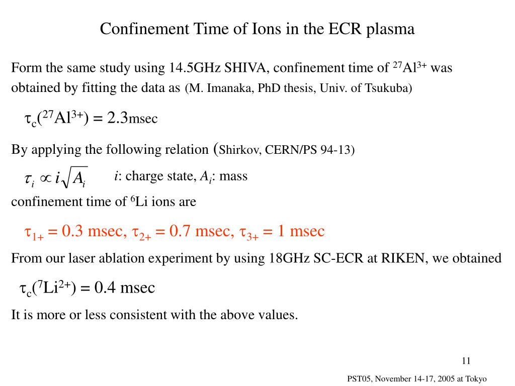 Confinement Time of Ions in the ECR plasma